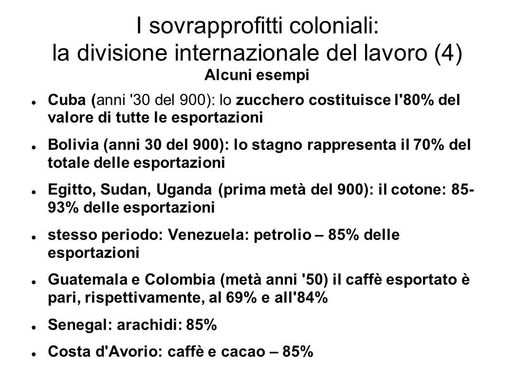 I sovrapprofitti coloniali: la divisione internazionale del lavoro (4) Alcuni esempi