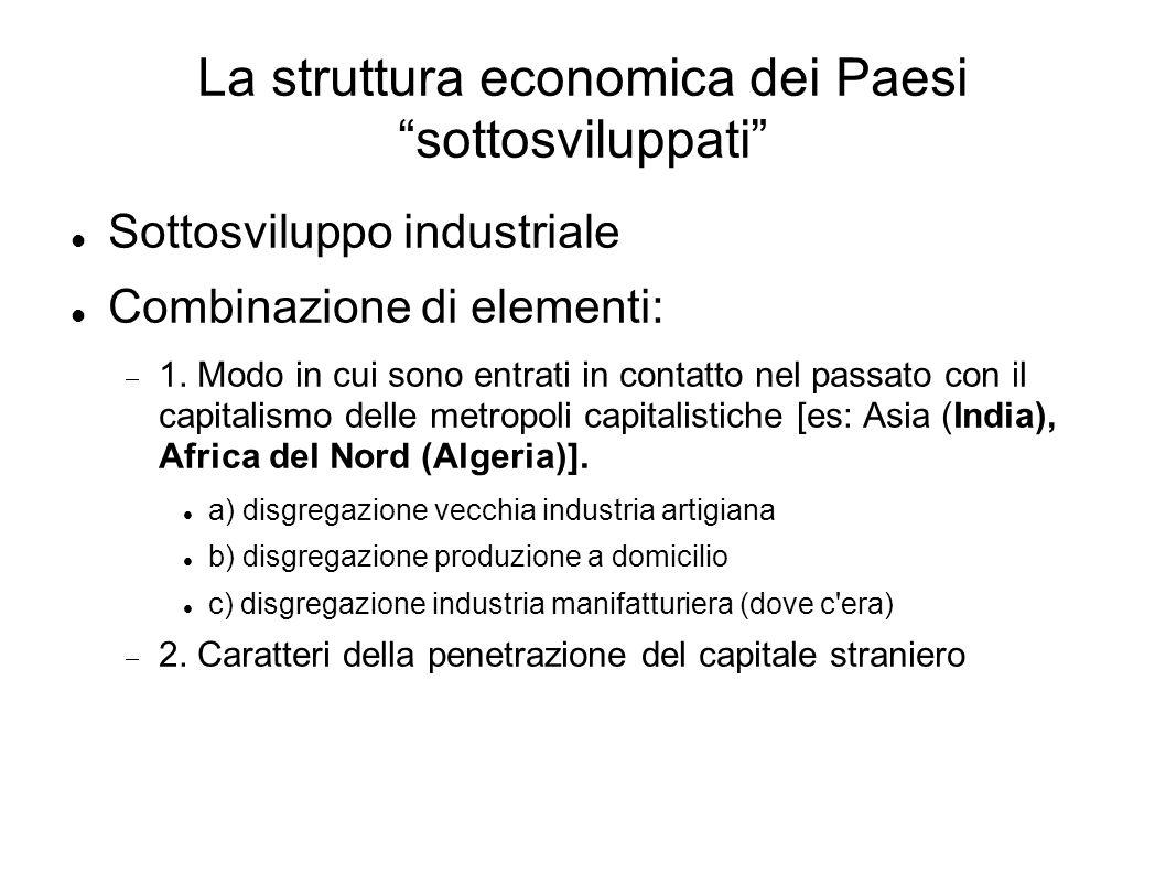 La struttura economica dei Paesi sottosviluppati