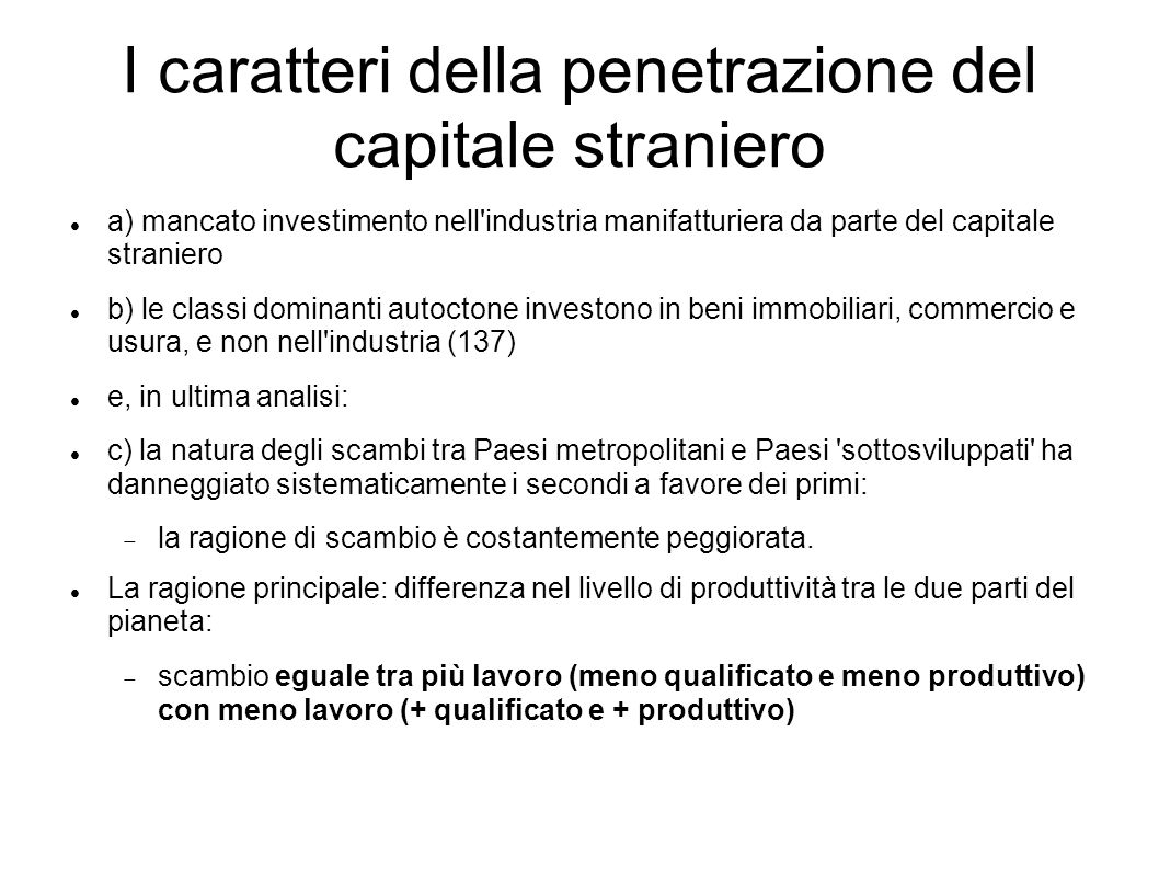 I caratteri della penetrazione del capitale straniero