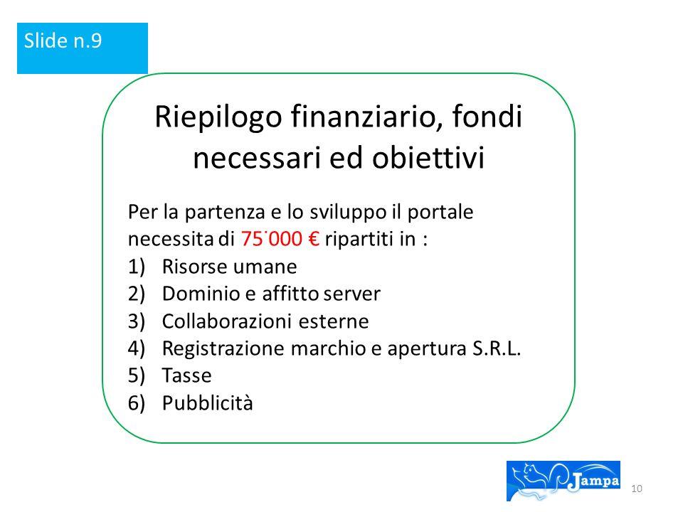 Riepilogo finanziario, fondi necessari ed obiettivi