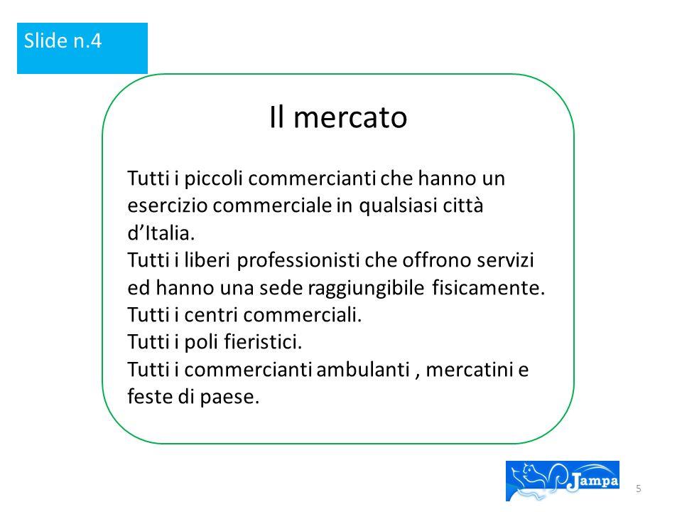 Slide n.4 Il mercato. Tutti i piccoli commercianti che hanno un esercizio commerciale in qualsiasi città d'Italia.