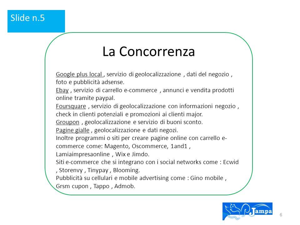 Slide n.5 La Concorrenza. Google plus local , servizio di geolocalizzazione , dati del negozio , foto e pubblicità adsense.