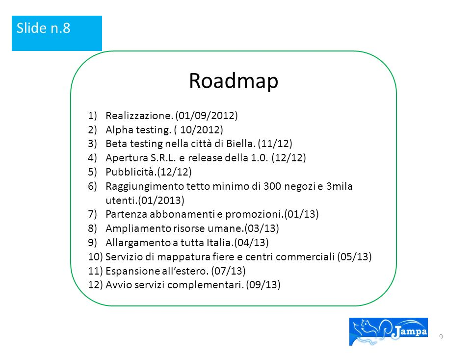 Roadmap Slide n.8 Realizzazione. (01/09/2012)
