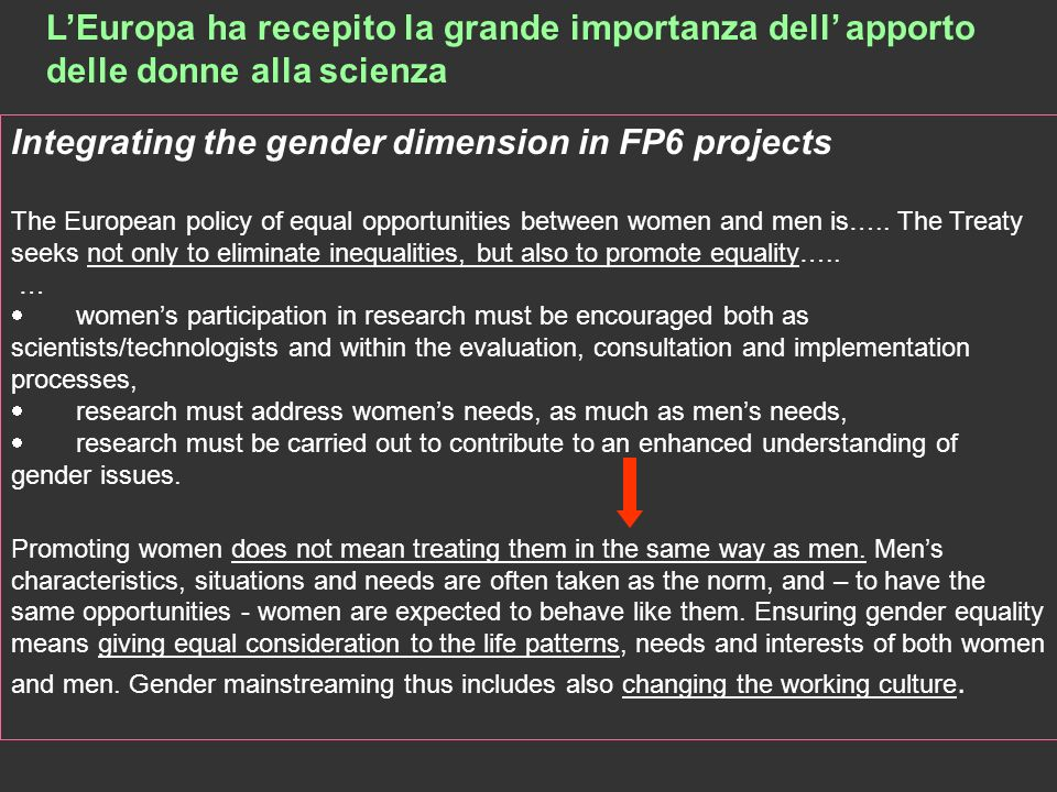 Integrating the gender dimension in FP6 projects