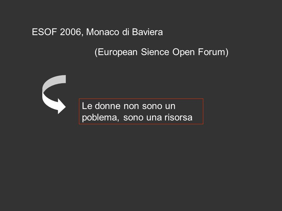 ESOF 2006, Monaco di Baviera (European Sience Open Forum) Le donne non sono un poblema, sono una risorsa.