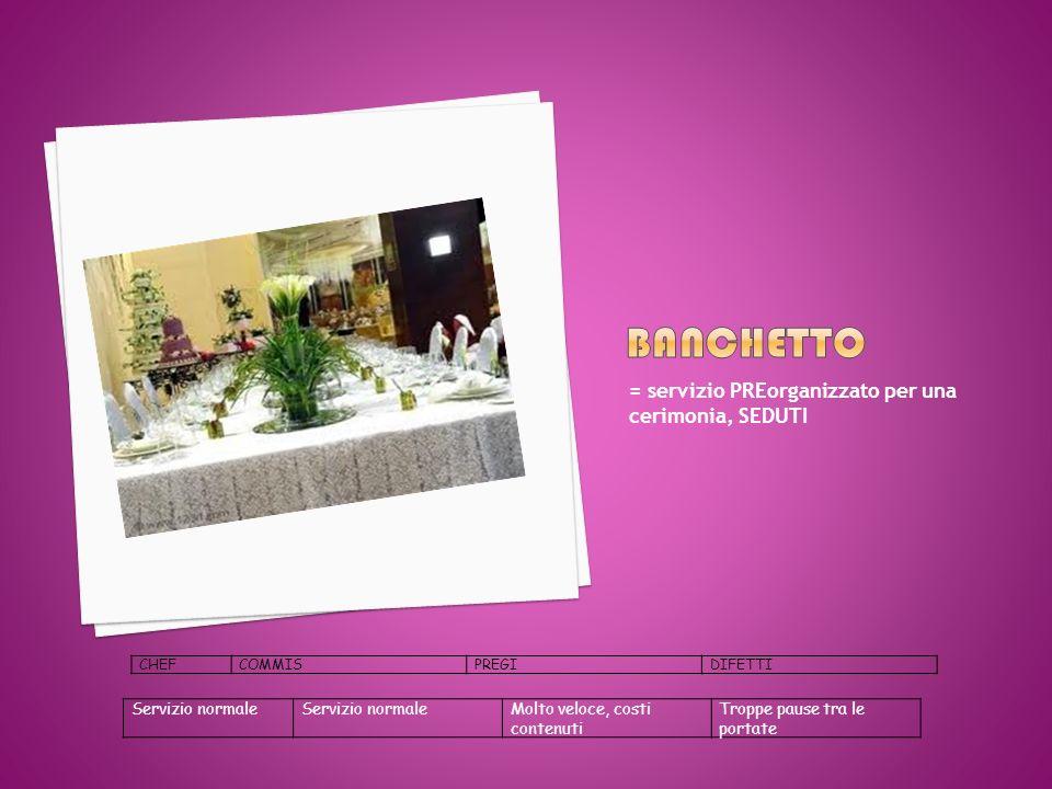banchetto = servizio PREorganizzato per una cerimonia, SEDUTI