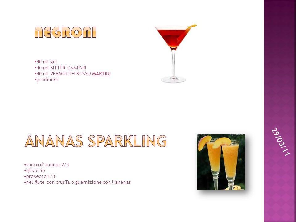 Negroni Ananas sparkling 29/03/11 40 ml gin 40 ml BITTER CAMPARI