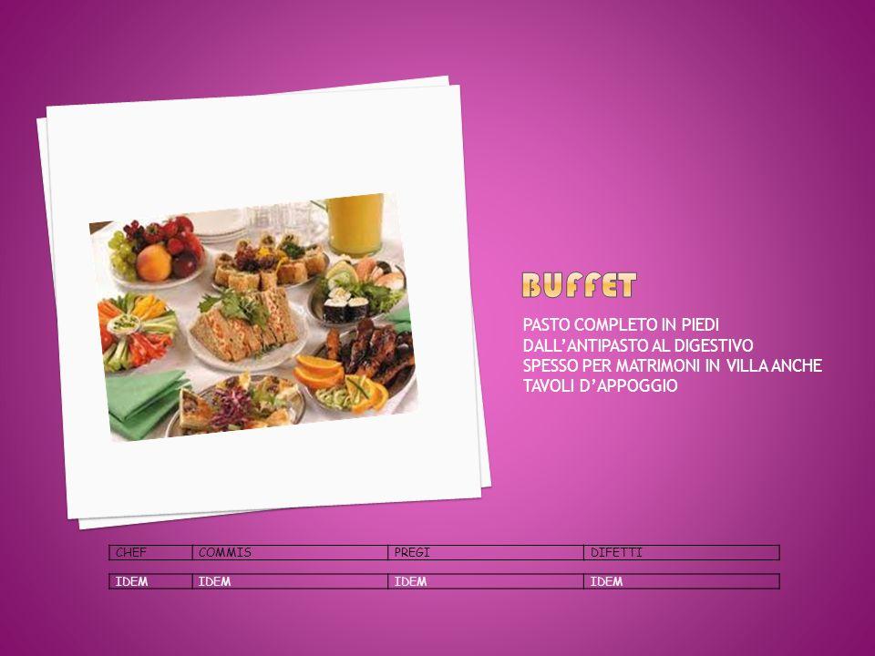 buffet PASTO COMPLETO IN PIEDI DALL'ANTIPASTO AL DIGESTIVO