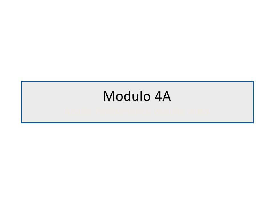 Modulo 4A Analisi Performance Vendite Auto