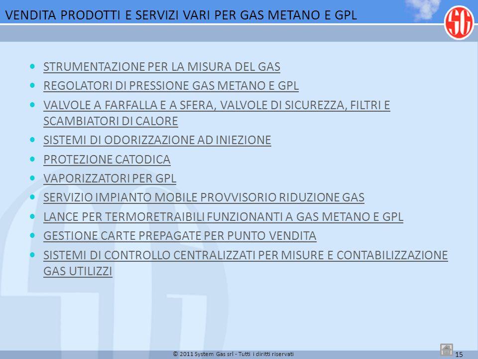 VENDITA PRODOTTI E SERVIZI VARI PER GAS METANO E GPL