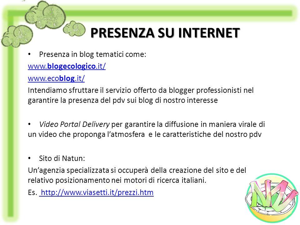 PRESENZA SU INTERNET Presenza in blog tematici come:
