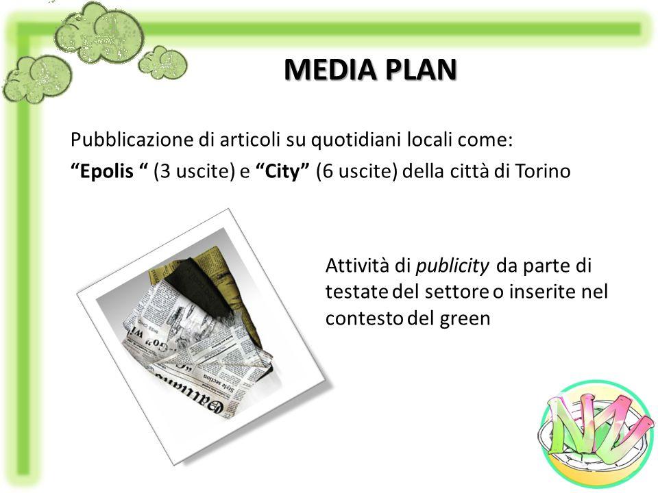 MEDIA PLAN Pubblicazione di articoli su quotidiani locali come: Epolis (3 uscite) e City (6 uscite) della città di Torino