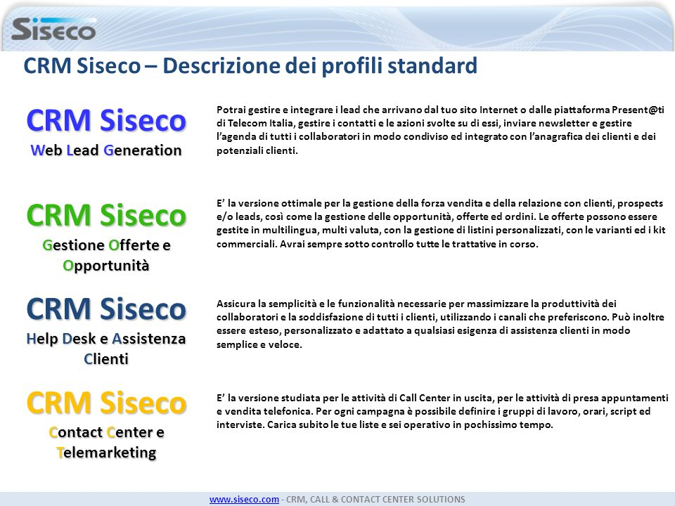CRM Siseco Web Lead Generation