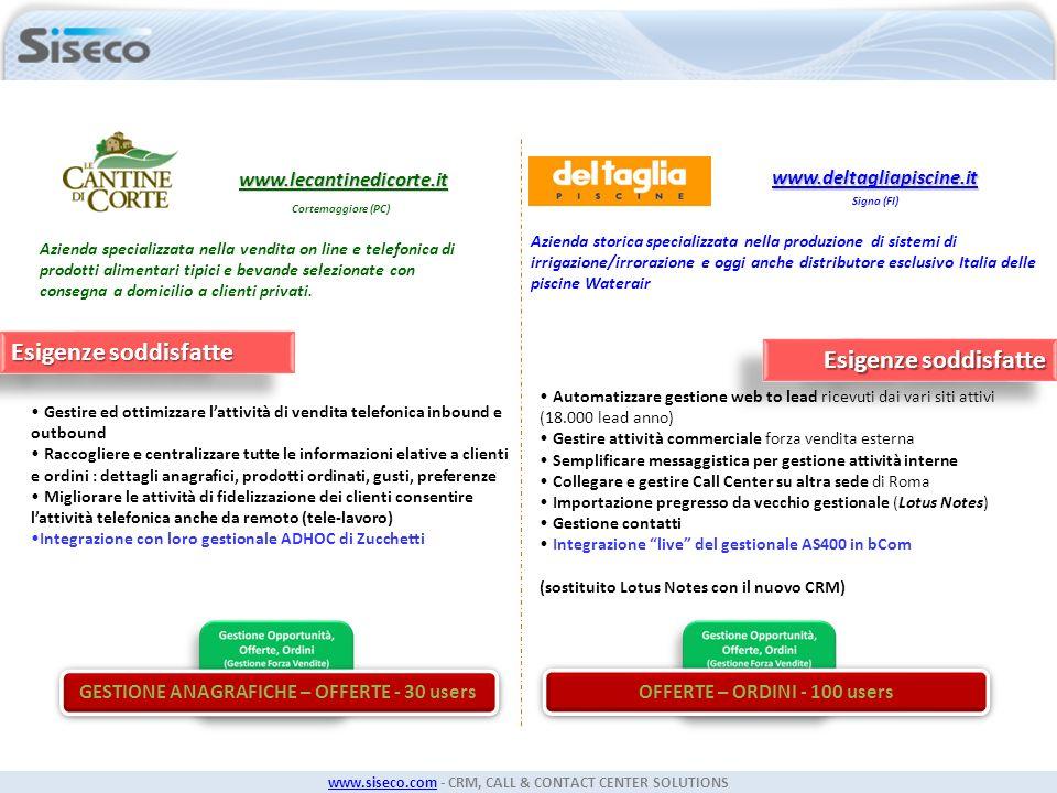GESTIONE ANAGRAFICHE – OFFERTE - 30 users OFFERTE – ORDINI - 100 users