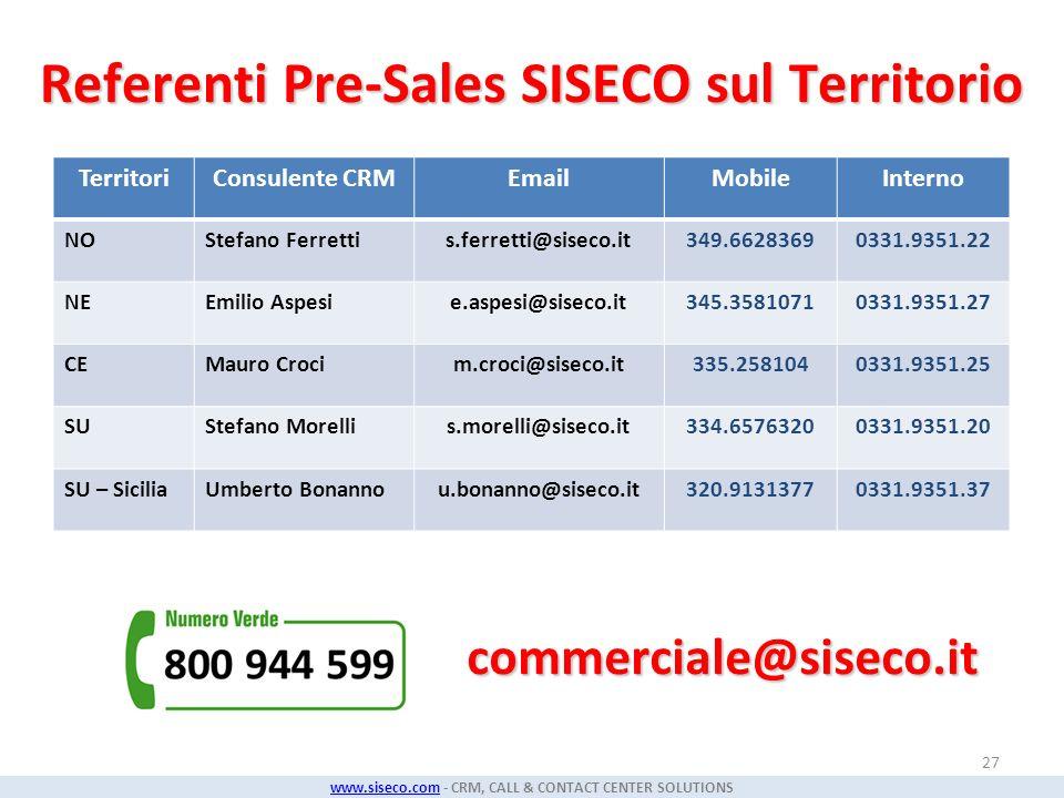 Referenti Pre-Sales SISECO sul Territorio