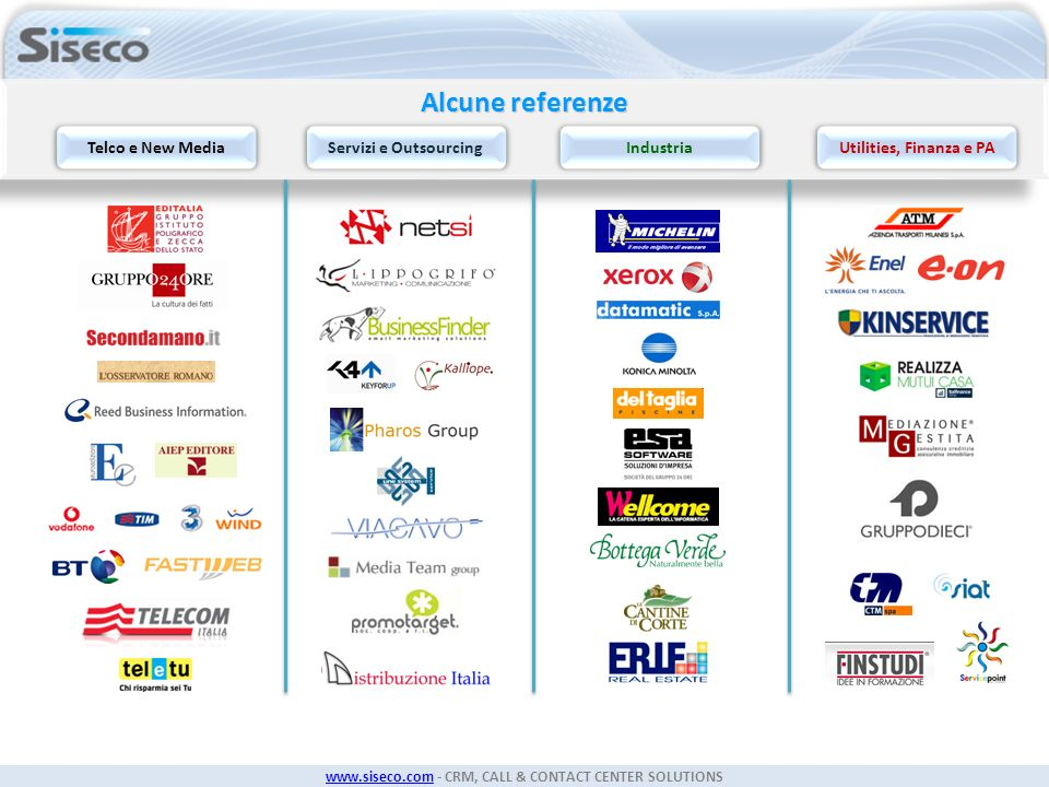 Alcune referenze Telco e New Media Servizi e Outsourcing Industria