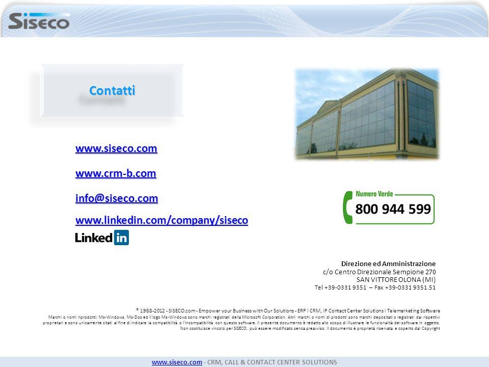 Contatti www.siseco.com www.crm-b.com info@siseco.com