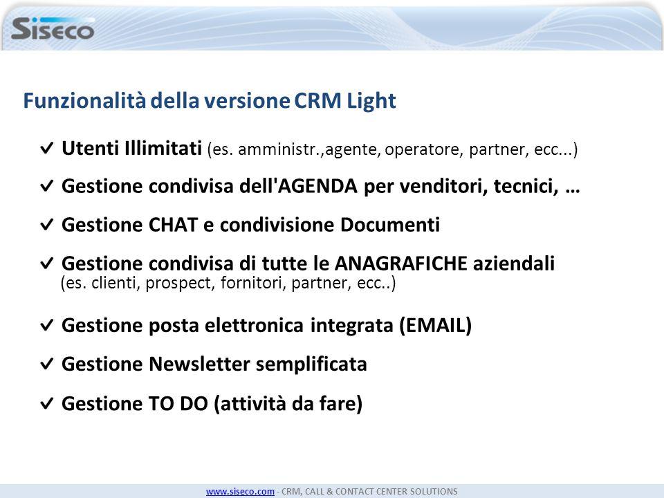 Funzionalità della versione CRM Light