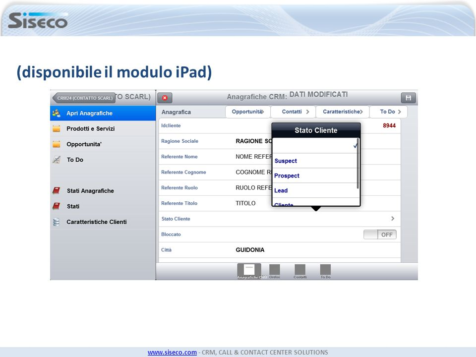 (disponibile il modulo iPad)