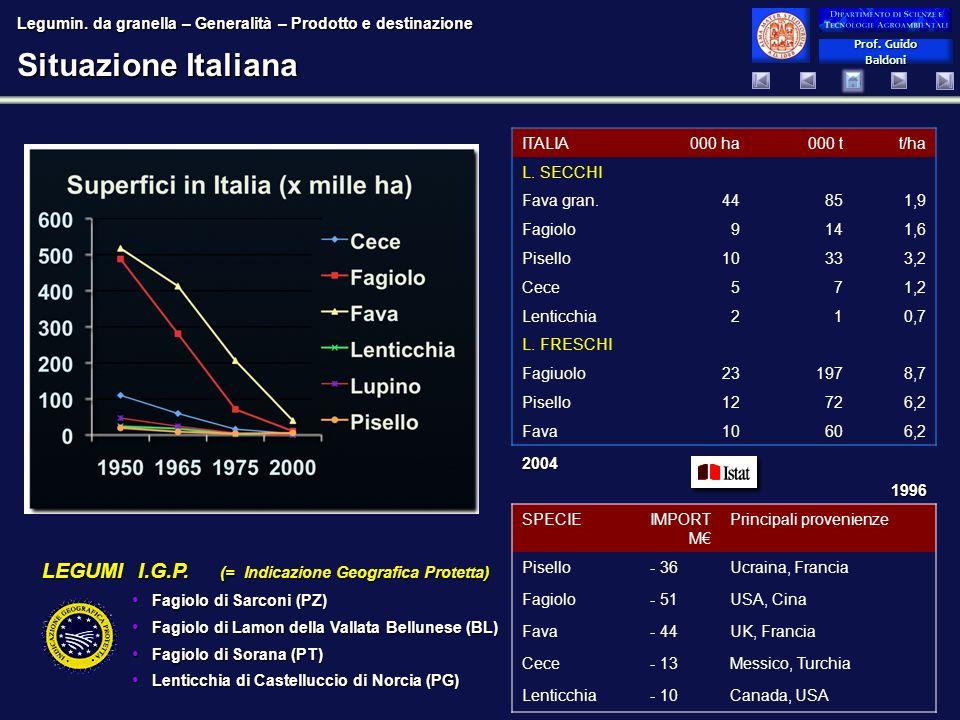 Situazione Italiana LEGUMI I.G.P. (= Indicazione Geografica Protetta)