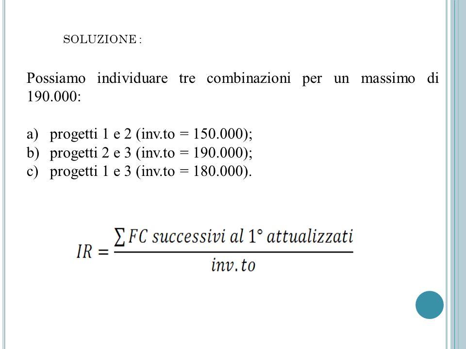 Possiamo individuare tre combinazioni per un massimo di 190.000: