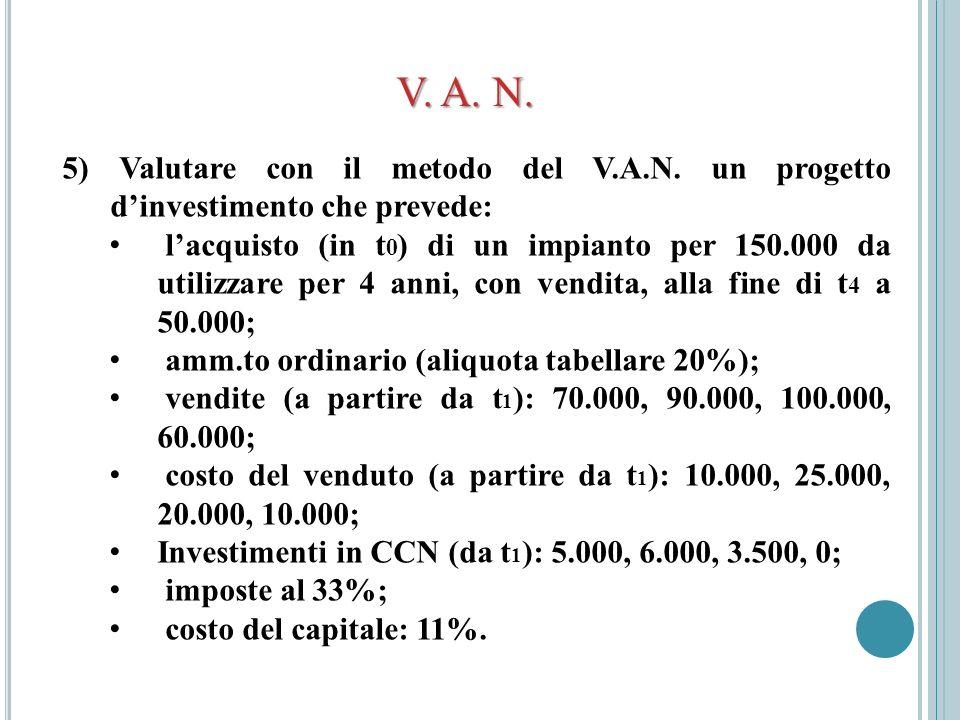 V. A. N. 5) Valutare con il metodo del V.A.N. un progetto d'investimento che prevede: