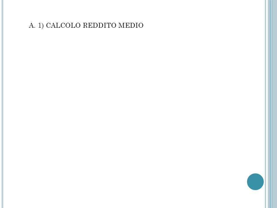 A. 1) CALCOLO REDDITO MEDIO