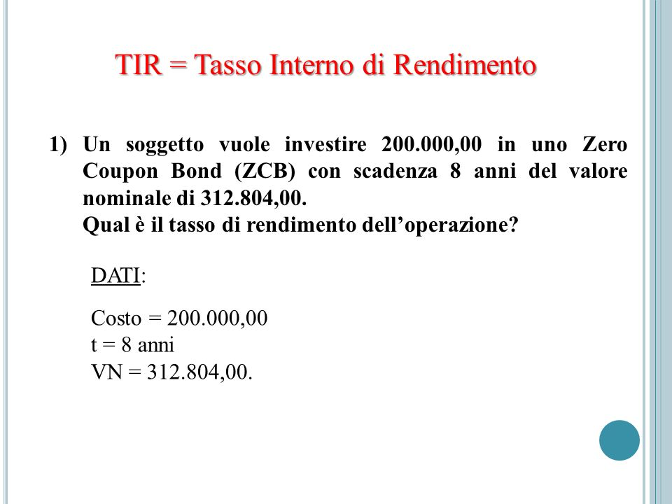 TIR = Tasso Interno di Rendimento