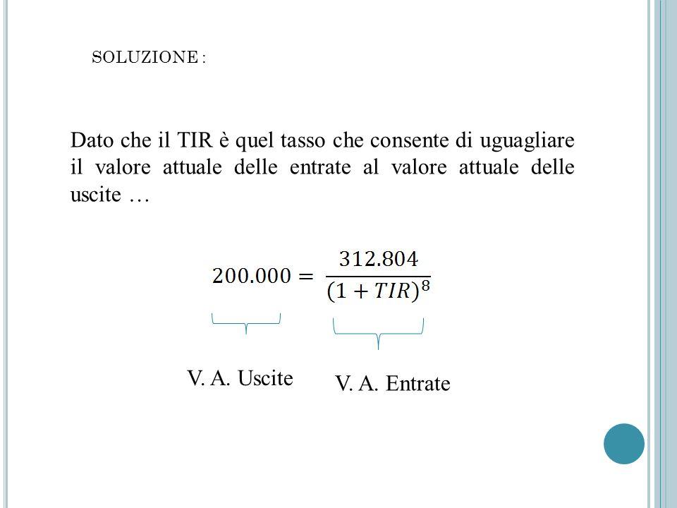 SOLUZIONE : Dato che il TIR è quel tasso che consente di uguagliare il valore attuale delle entrate al valore attuale delle uscite …