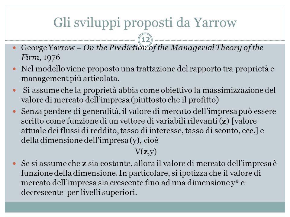 Gli sviluppi proposti da Yarrow