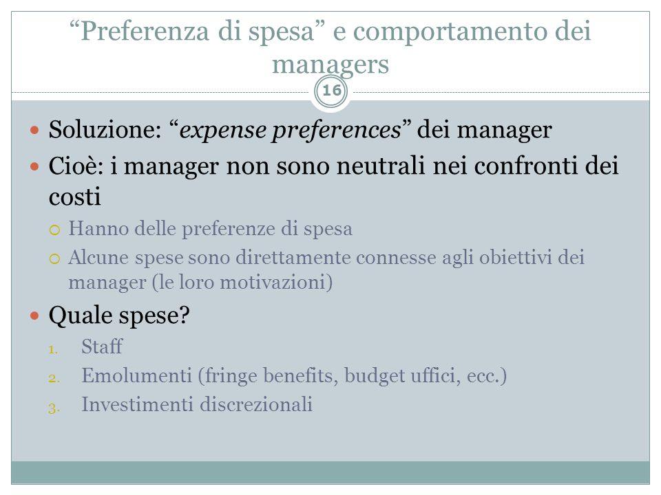 Preferenza di spesa e comportamento dei managers