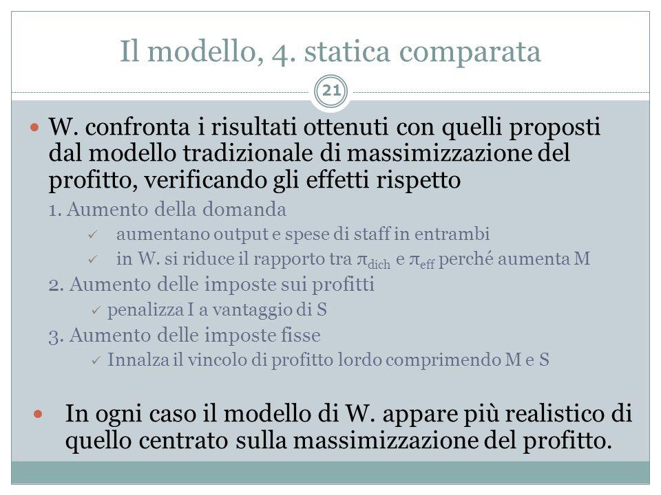 Il modello, 4. statica comparata
