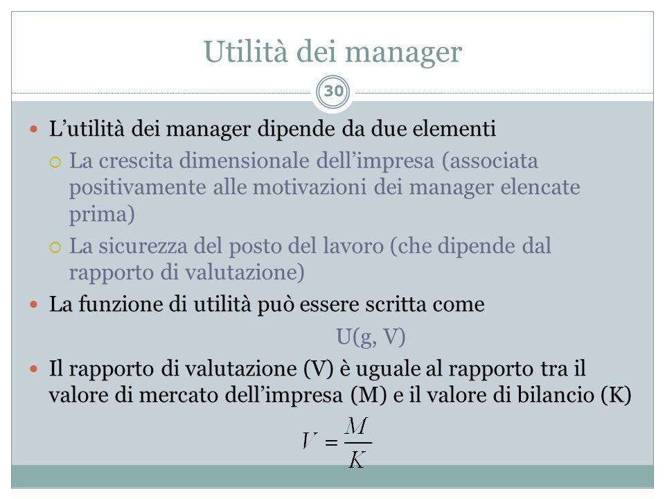 Utilità dei manager L'utilità dei manager dipende da due elementi