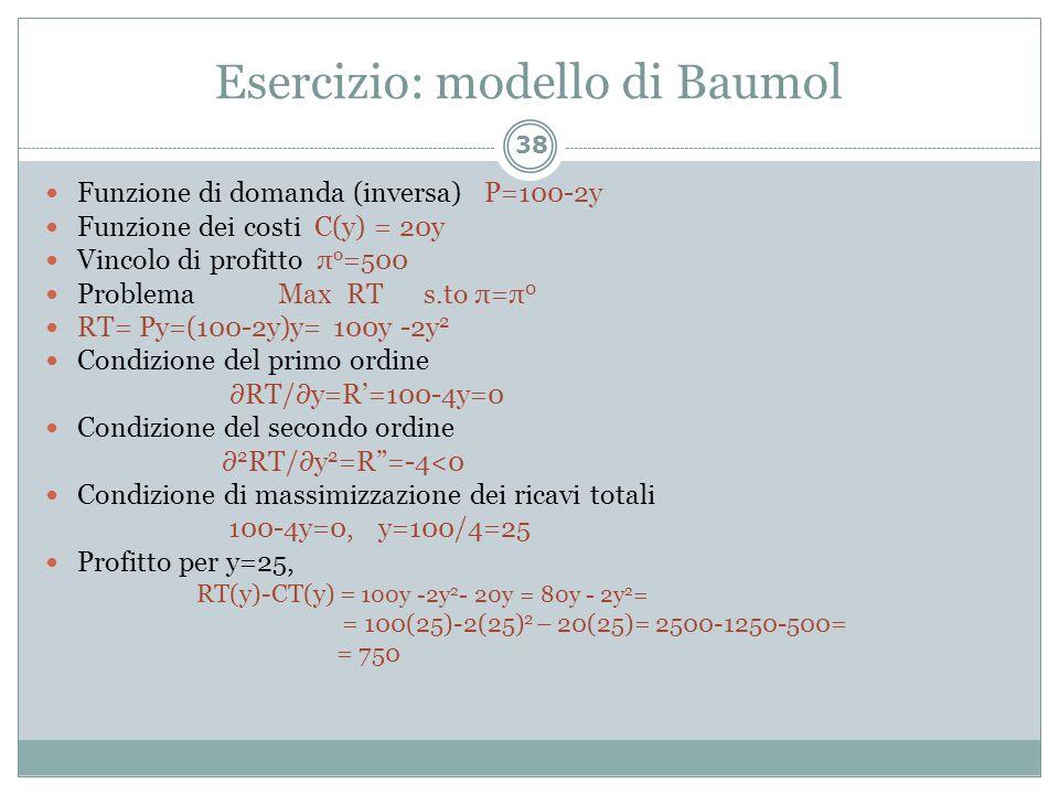 Esercizio: modello di Baumol
