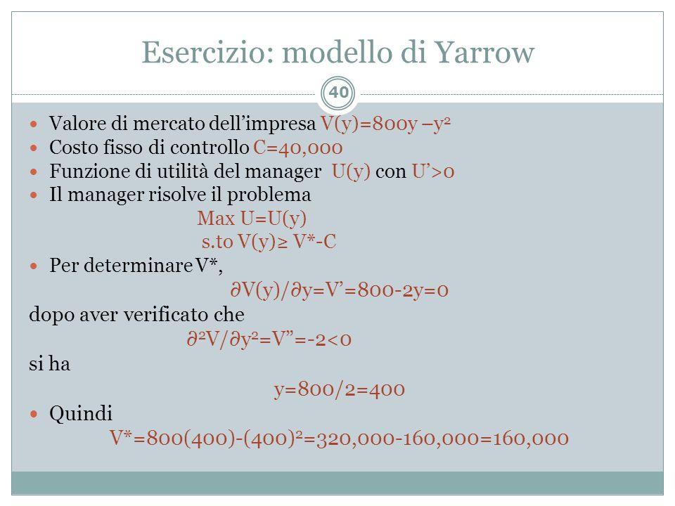 Esercizio: modello di Yarrow