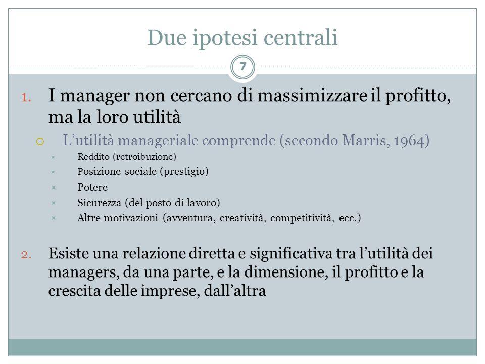 Due ipotesi centrali I manager non cercano di massimizzare il profitto, ma la loro utilità. L'utilità manageriale comprende (secondo Marris, 1964)