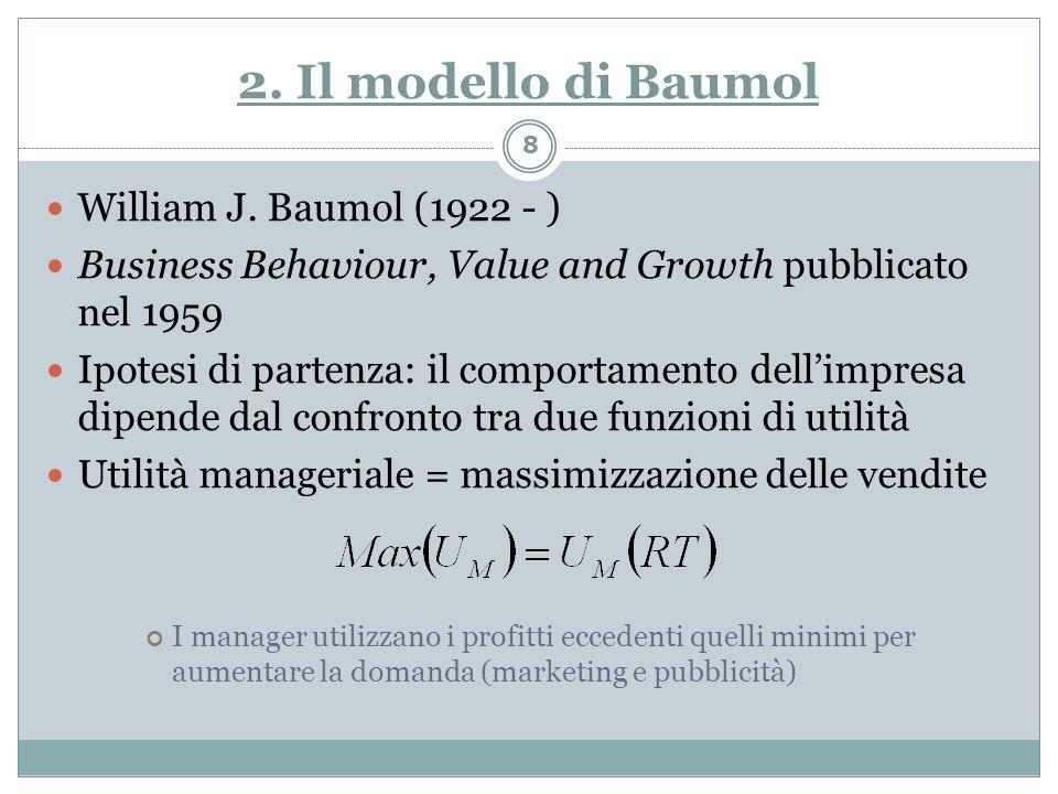 2. Il modello di Baumol William J. Baumol (1922 - )