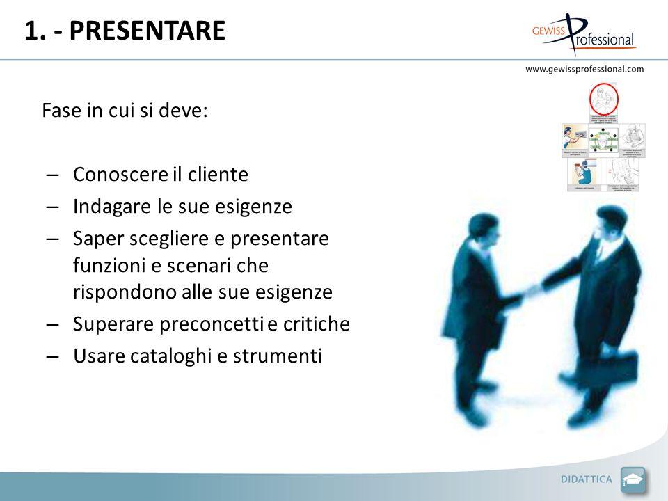 1. - PRESENTARE Fase in cui si deve: Conoscere il cliente