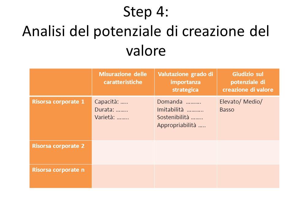 Step 4: Analisi del potenziale di creazione del valore