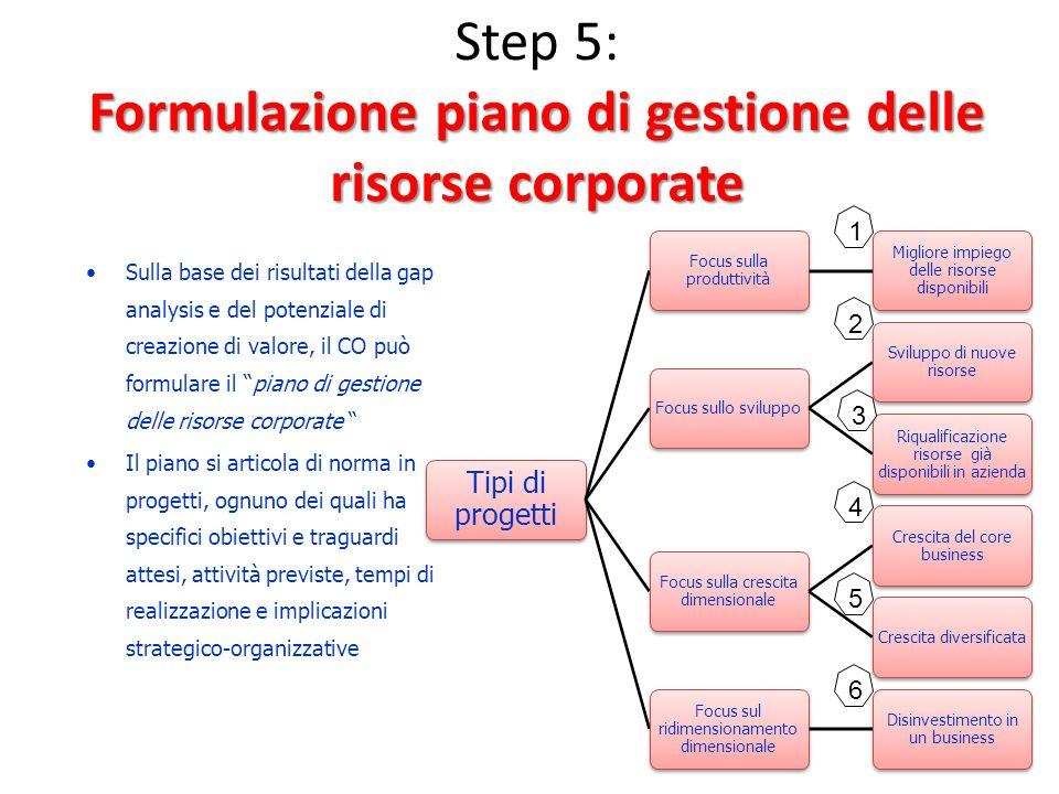 Step 5: Formulazione piano di gestione delle risorse corporate