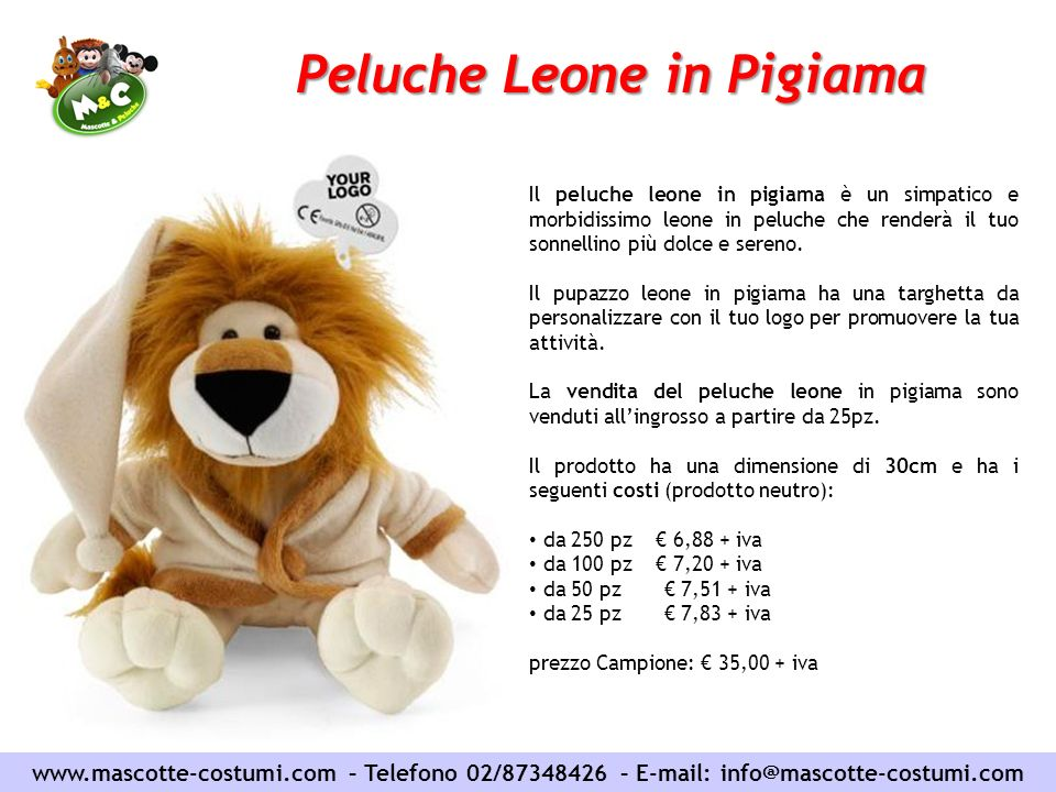 Peluche Leone in Pigiama