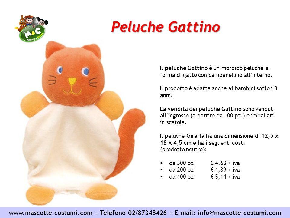 Peluche Gattino Il peluche Gattino è un morbido peluche a forma di gatto con campanellino all'interno.
