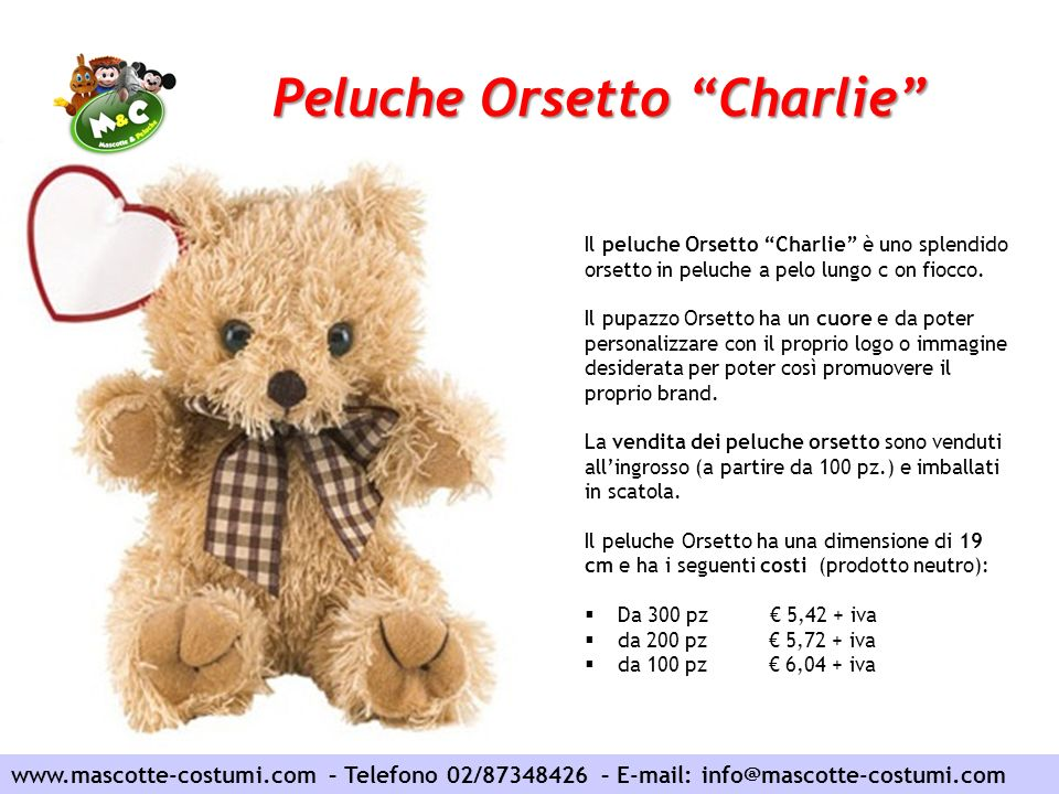 Peluche Orsetto Charlie