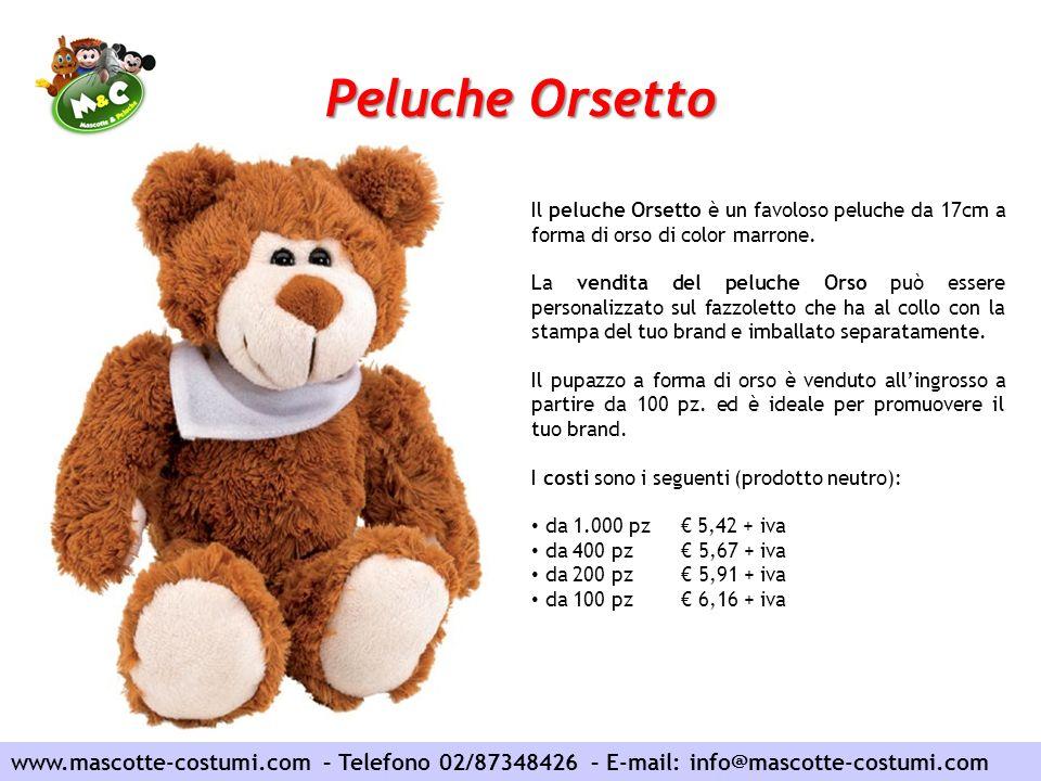 Peluche Orsetto Il peluche Orsetto è un favoloso peluche da 17cm a forma di orso di color marrone.