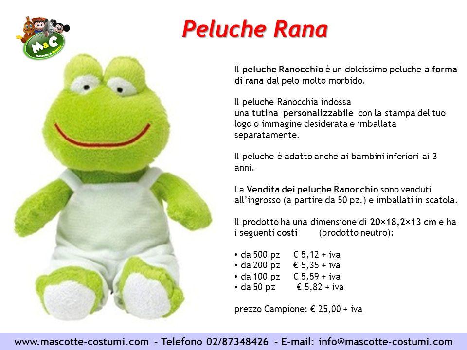 Peluche Rana Il peluche Ranocchio è un dolcissimo peluche a forma di rana dal pelo molto morbido.