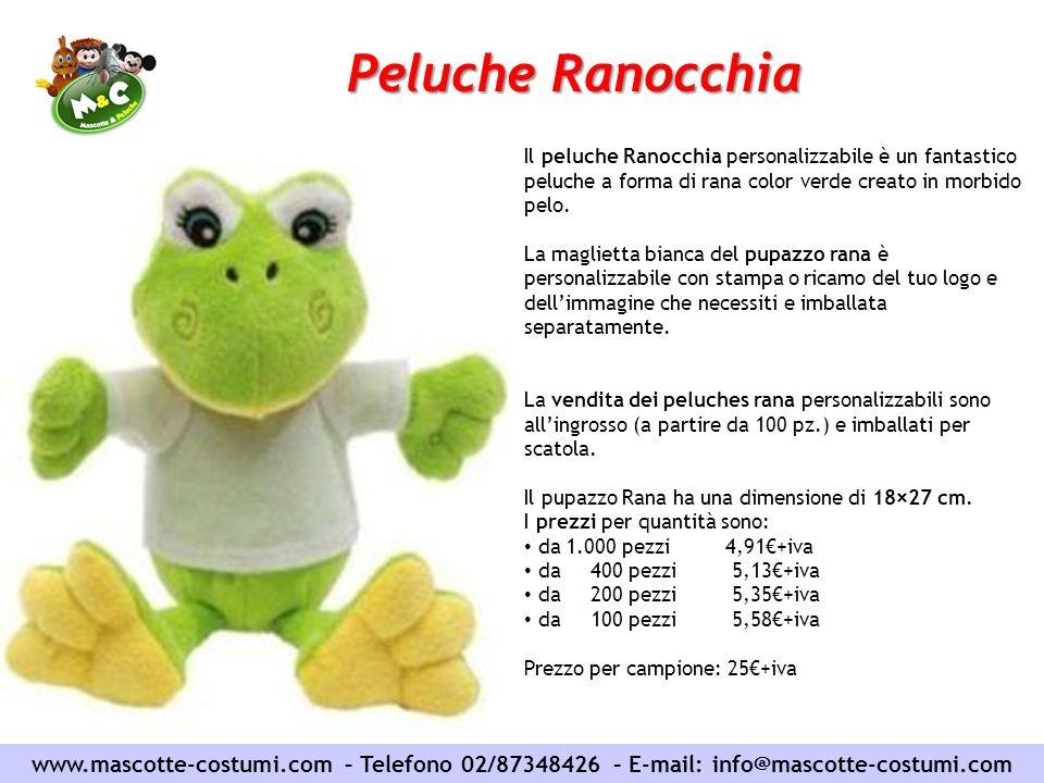 Peluche Ranocchia Il peluche Ranocchia personalizzabile è un fantastico peluche a forma di rana color verde creato in morbido pelo.