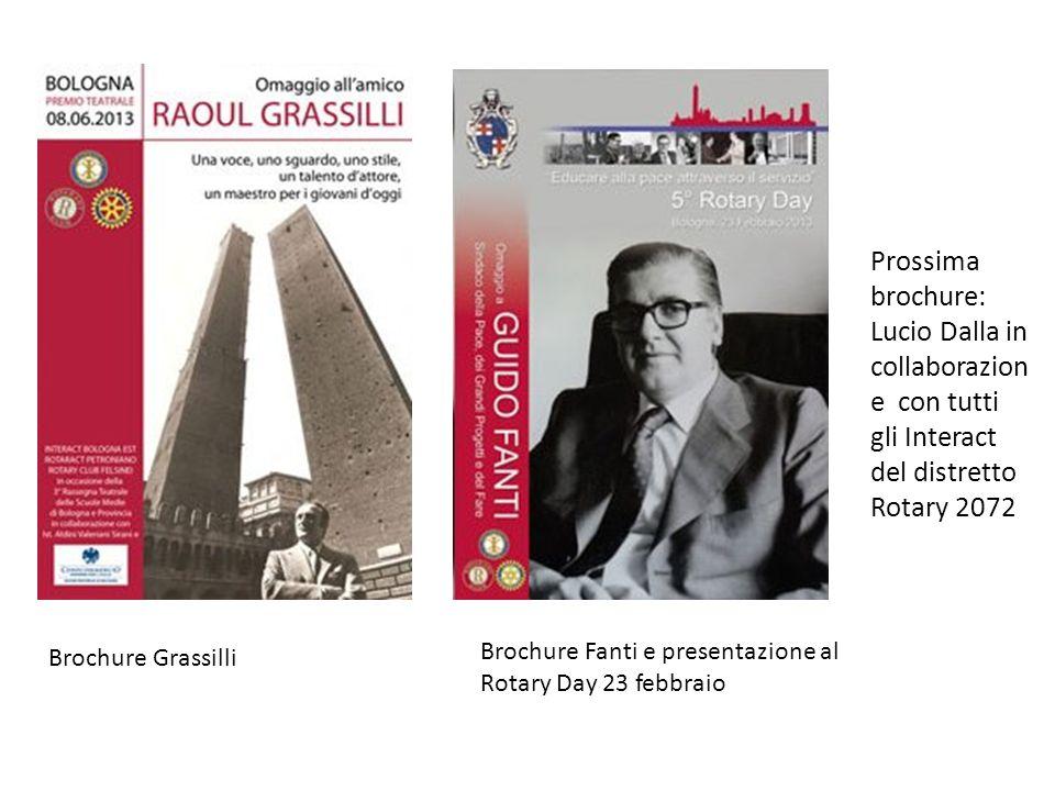Prossima brochure: Lucio Dalla in collaborazione con tutti gli Interact del distretto Rotary 2072