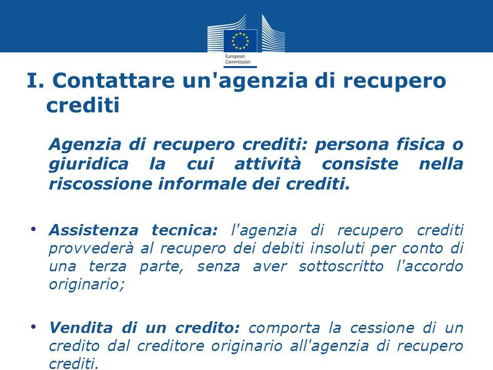 I. Contattare un agenzia di recupero crediti