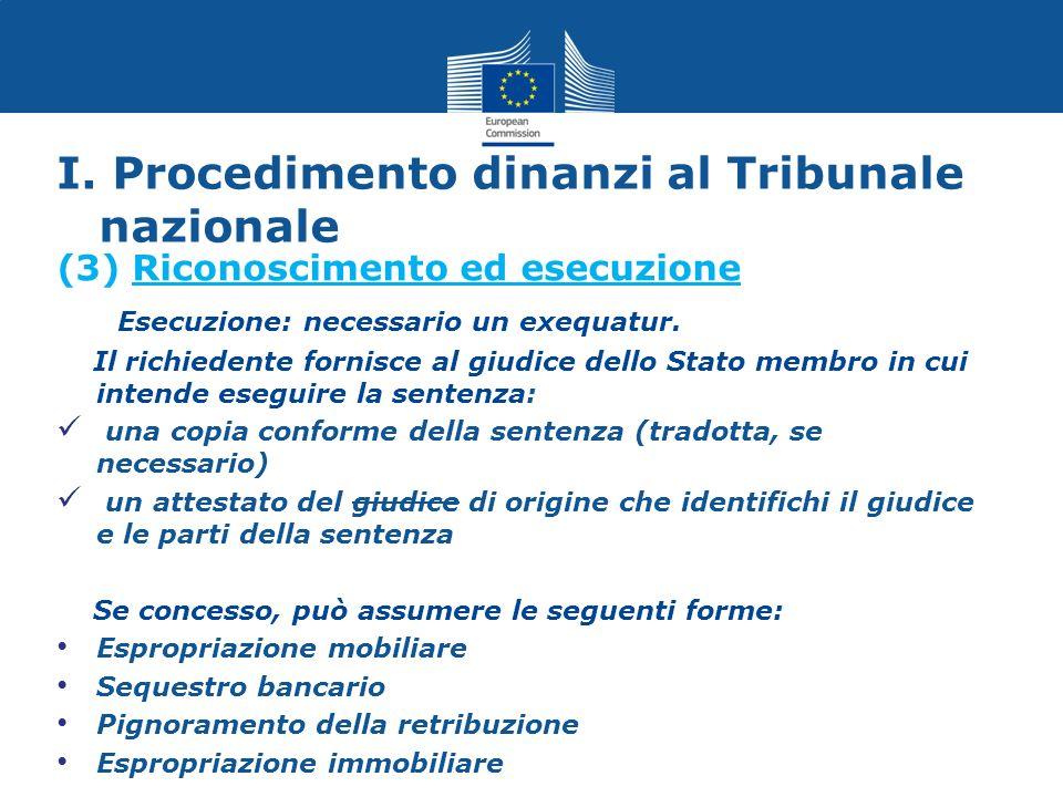 I. Procedimento dinanzi al Tribunale nazionale