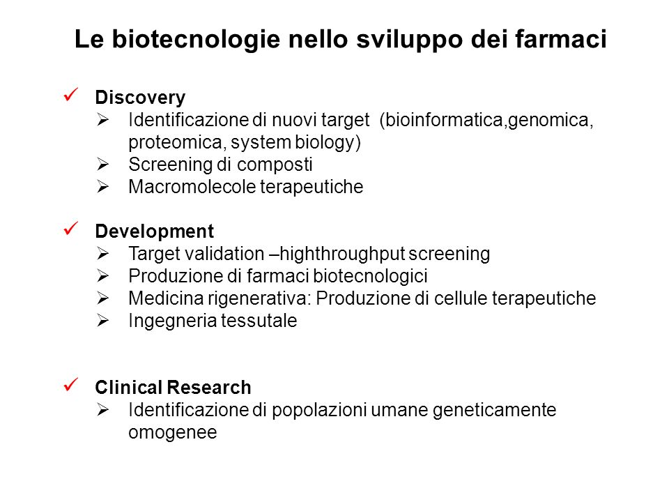 Le biotecnologie nello sviluppo dei farmaci